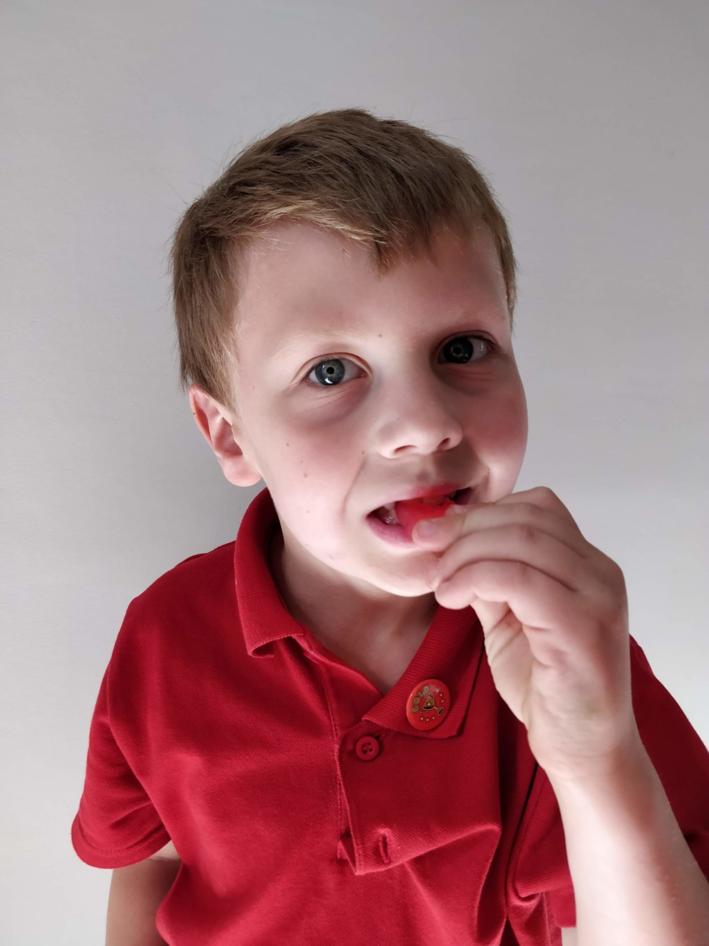 A 7 year old boy in a red top, eating a strawberry from Haribo's vegetarian range.